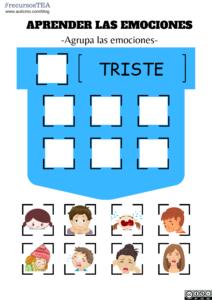 emociones TEA, ejercicios de emociones para niños con TEA, enseñar las emociones a niños autistas, recursos autismo, recursos TEA, actividades para niños con TEA